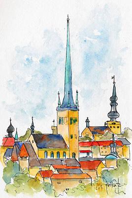 Painting - Tallinn Skyline by Pat Katz