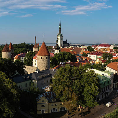 Vintage Uk Posters - Tallinn old town in Summer by Tim Clark