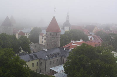 Tallinn Towers In Fog B015 Original by Charles  Ridgway