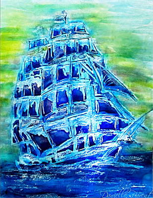 Painting - Tallship Alcohol Inks by Danielle  Parent