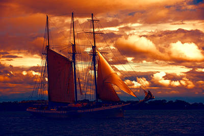 Digital Art - Tallship - Moody Blues And Powerful Oranges by Georgia Mizuleva