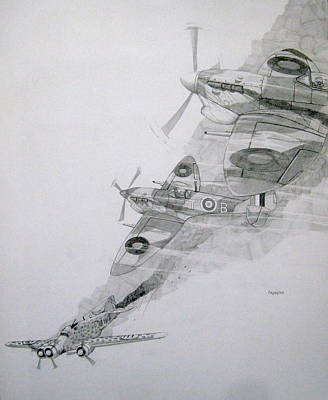 Bomber Drawing - Tally-ho by Ray Agius