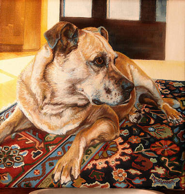 Commission Boxer Painting - Tally In Winter Sun by Peggy Selander