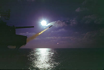 Photograph - Talos Missile Shot Aboard Uss Chicago by Bernard Lynch