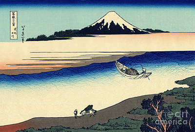 Oriental Art Painting - Tama River In The Musashi Province by Hokusai