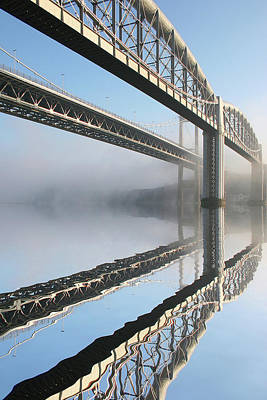 Tamar Road Bridge And Brunel Rail Bridge Art Print by Mark Stokes