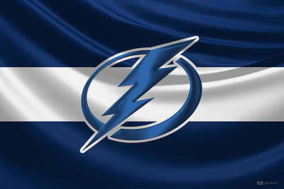 Digital Art - Tampa Bay Lightning - 3 D Badge Over Silk Flag by Serge Averbukh