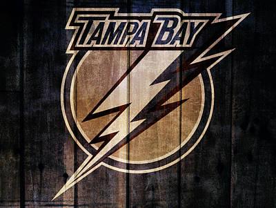 Lightning D Mixed Media - Tampa Bay Lightning Barn Door by Dan Sproul