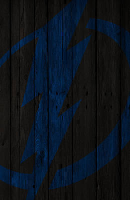 Stanley Cup Digital Art - Tampa Bay Lightning Wood Fence by Joe Hamilton