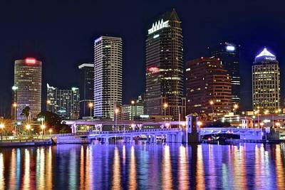 Iridescent Photograph - Tampa Bay Nightscape by Frozen in Time Fine Art Photography