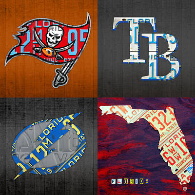 Tampa Bay Sports Fan Recycled Vintage Florida License Plate Art Bucs Rays Lightning Plus State Map Art Print by Design Turnpike