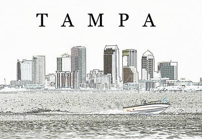 Boating Digital Art - Tampa City By The Bay by David Lee Thompson