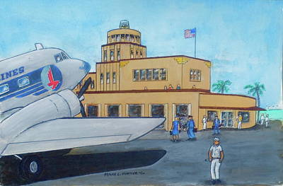 Painting - Tampa Davis Islands Airport Crew Change  by Frank Hunter