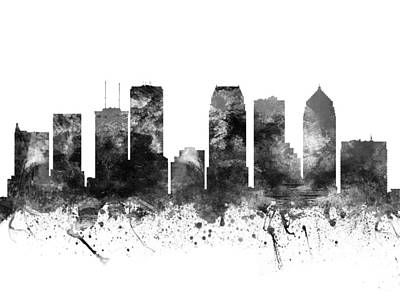 Towns Digital Art - Tampa Florida Cityscape 02bw by Aged Pixel