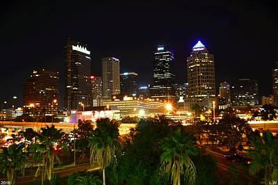 Photograph - Tampa Florida Skyline At Night by Lisa Wooten