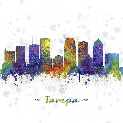 Tampa Digital Art - Tampa Florida Skyline Color 03sq by Aged Pixel