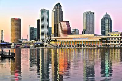 Tampa Skyline Photograph - Tampa In Vivid Color by Frozen in Time Fine Art Photography