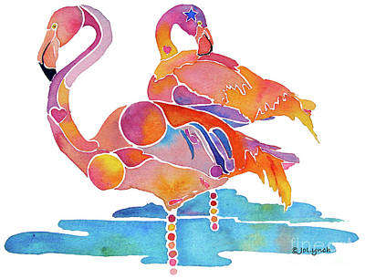 Flamingo Painting - Tampa Nic Flamingos by Jo Lynch