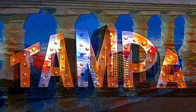 Photograph - Tampa Poster Mash Up by David Lee Thompson