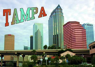 Western Art - Tampa River View Postcard by Robert Wilder Jr