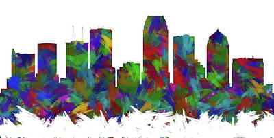 Abstract Skyline Digital Art Rights Managed Images - Tampa Skyline Silhouette Abstract I Royalty-Free Image by Ricky Barnard