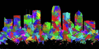 Abstract Skyline Digital Art Rights Managed Images - Tampa Skyline Silhouette Abstract II Royalty-Free Image by Ricky Barnard