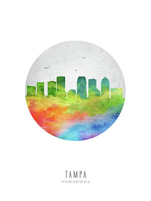 Tampa Digital Art - Tampa Skyline Usflta20 by Aged Pixel