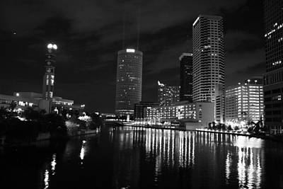 Tampa Skyline West Night Black And White Art Print by Larry Underwood