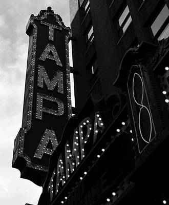 Photograph - Tampa Theatre Sign Bw by David Lee Thompson