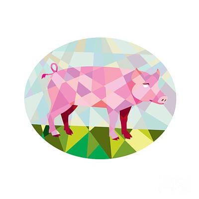 Breed Digital Art - Tamworth Pig Side Oval Low Polygon by Aloysius Patrimonio