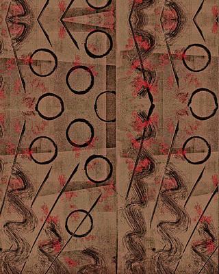 Printmaking Mixed Media - Tan, Black, Red Abstract by Sheryl Karas