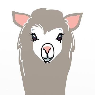 Llamas Digital Art - Tan Llama Throw Pillow by Ramona MacDonald