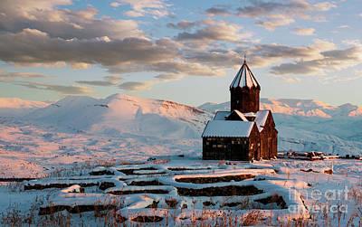 Photograph - Tanahat Monastery At Sunset In Winter, Armenia by Gurgen Bakhshetsyan