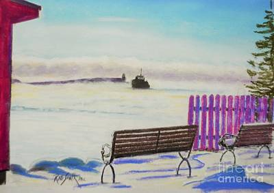 Pastel - Tancook Ferry On A Frosty Morn by Rae  Smith PAC