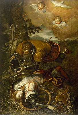 Baptizing Painting - Tancred Baptizing Clorinda by Domenico Tintoretto