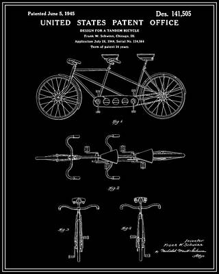 Tandem Bicycle Patent - Black Art Print by Finlay McNevin