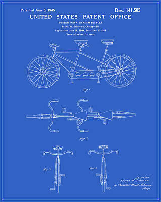 Tandem Bicycle Patent - Blueprint Art Print by Finlay McNevin