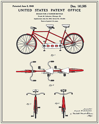 Tandem Bicycle Patent - Colour Art Print by Finlay McNevin