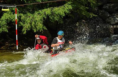 Photograph - Tandem Canoe In Rapids by Les Palenik