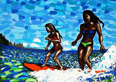 Longboard Painting - Tandem Surfer Girls by Jason Page