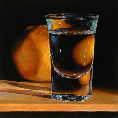 Tangerine And Shotglass Art Print by Jeffrey Hayes