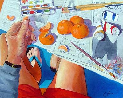 Artist Self Portrait Painting - Tangerine Break by Gary Coleman