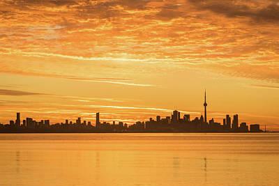 Photograph - Tangerine Dawn - Toronto Skyline With Glorious Clouds by Georgia Mizuleva