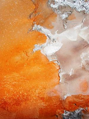 Tangerine Orange Geyser Pool Of Yellowstone Art Print by The Forests Edge Photography - Diane Sandoval