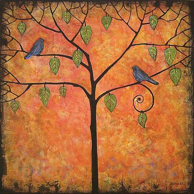 Tree Of Life Painting - Tangerine Sky by Blenda Studio