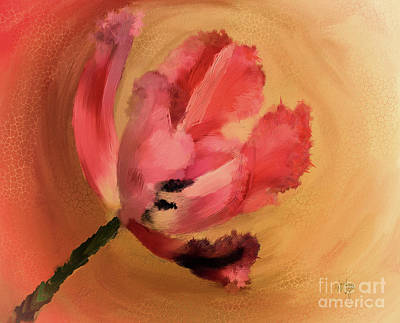 Digital Art - Tangerine Tulip In A Twirly Tizzy by Lois Bryan