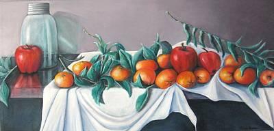 Tangerines And Apples Art Print by Eileen Kasprick