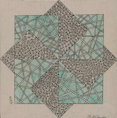 Block Quilts Drawing - Tangle Block 1 by Bev Donohoe