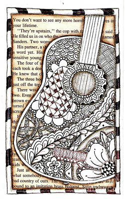 Drawing - Tangle Guitar 1 by Delein Padilla