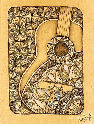 Drawing - Tangle Guitar by Delein Padilla